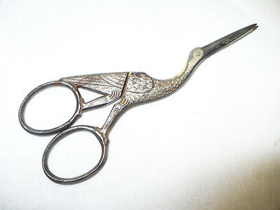 "Antique Scarce ""r.h. Macy & Co."" Stork Embroidery Scissors -L@@k"