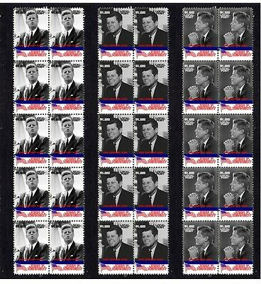 John F Kennedy, Set Of 3 Icons Mint Stamp Strips 1