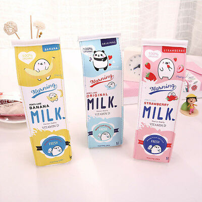 Cute Kawaii Pencil Case Creative Milk Pencil Bag For Kid Novelty Item Stationery