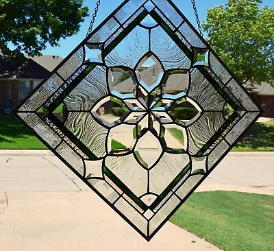 """Stained Glass Window Panel """"Extra Large Exquisite Bevel"""" """""""