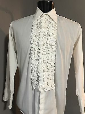 1970's Solid White Ruffled Tuxedo Shirt by After six Extra Small and Small only