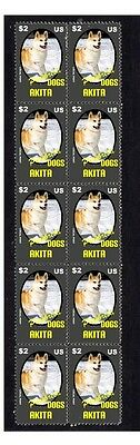 Akita Purebreed Dogs Strip Of 10 Mint Stamps 1