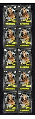 Bloodhound Purebreed Dogs Strip Of 10 Mint Stamps 4
