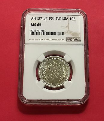 Tunisia Ah1371//1951 Silver 10 Francs Ngc Ms65 Extra Rare! Low Mintage