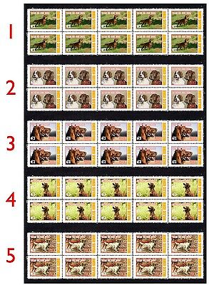 Irish Setter Year Of The Dog Set Of 5 Mint Stamp Strips