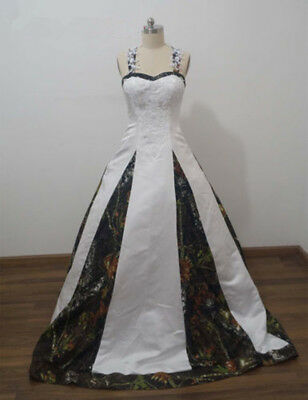 9ff22f7f5995f 2019 Ball Gown Wedding Dresses Bridal Gowns Halter Appliques Camouflage  Custom