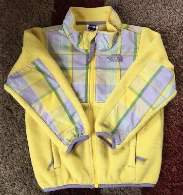 The NORTH FACE Denali Recycled Fleece Jacket Yellow PLAID 4T Toddler Girls