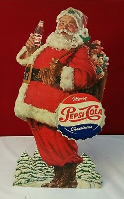 1940's 10 x 19 inch Merry Christmas Santa Claus Pepsi Cola Display w/Stand