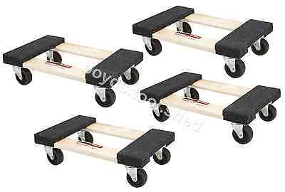 "4 PACK 1000 lb Capacity Mover Furniture Moving Dolly Swivel Casters 12"" x 18"""