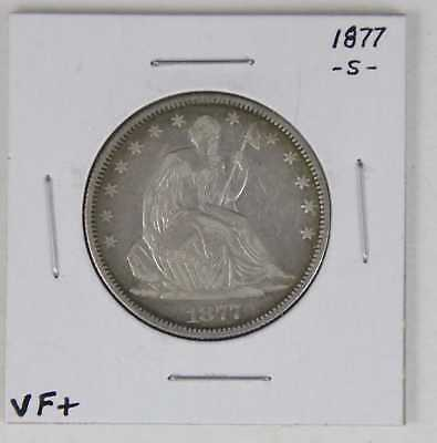 1877 S Seated Liberty Half Dollar 50C Vf/xf Very Sharp Coin!