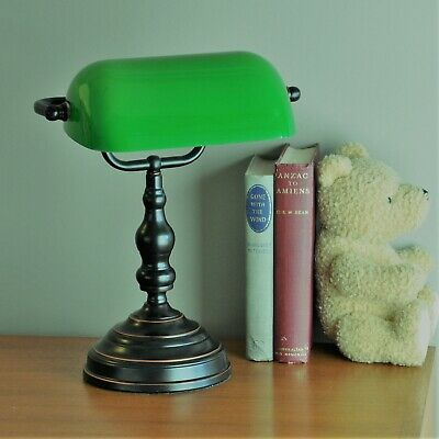 "BANKERS LAMP ""PATINA BLACK""-STUDY-DESK LIGHT-vintage retro-GREEN GLASS SHADE"