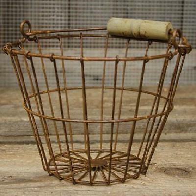 Vintage Kitchen Goods Eggs farmhouse Bucket Display Rusty Metal Wire Egg Basket