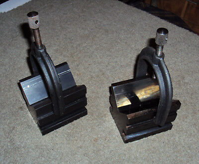 Brown & Sharpe Machinist Precision V-Blocks With Clamps