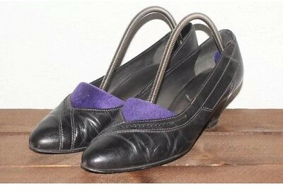 Vintage 1980's Black REAL LEATHER Detail Thick Heel COURT Shoes Size UK 4.5 37.5
