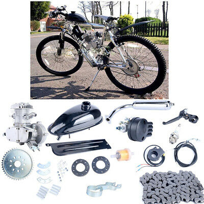 2 Stroke 80cc Motorised Bike Kit Bicycle Motor Engine for Motorised Bike Silver