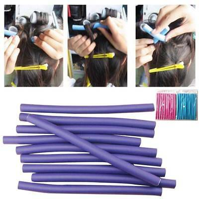 10Pcs Soft Foam Curler Makers Bendy Twist Curls Tool DIY Styling Hair Rollers US