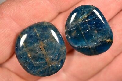 2 BLUE APATITE PALM STONES 12g Healing Crystals Flat Worry, Inspirational Stone