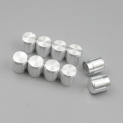 10PCS Silver Aluminum 6mm Knurled Shaft Knob For Potentiometer Volume Control