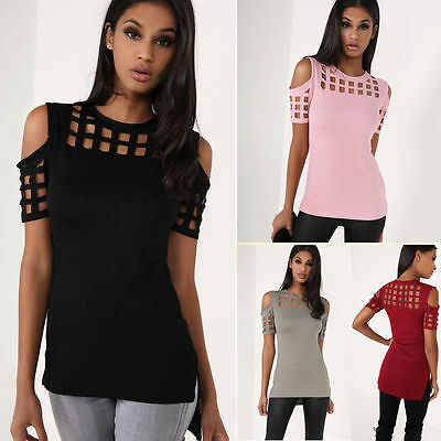 AU Womens Casual Short Sleeve Cold Shoulder Blouse Tops Ladies Loose T-shirt New