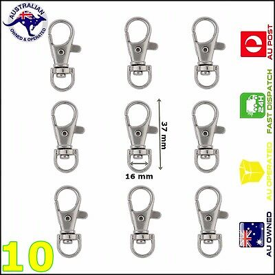 10 Pcs 37*16 mm Silver Plated Swivel Lobster Claw Clasp Clips Key Hook