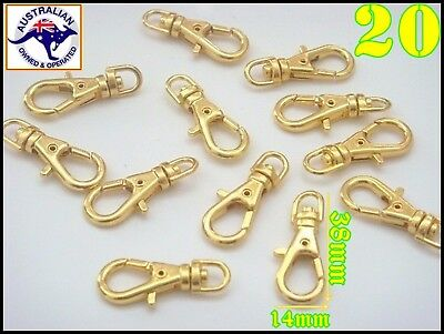 20 Pcs 37*16 mm Golden Plated Swivel Lobster Claw Clasp Clips Key Hook