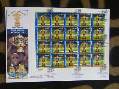 Souvenir Stamp Sheetlet First Day Cover 2003 Rugby World Cup $22 Face