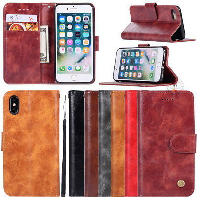 Classic Luxury Retro Wallet Leather Stand Flip Cover Card Slots Cases Hand Strap