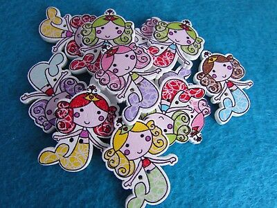 5 or 10 32mm x 22mm Wooden Mermaid Buttons 2 Hole Embellishments in Packs of 2