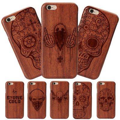 Natural Rose Wood Skull Hard Phone Case Cover For iPhone 8 X 7 Plus&Samsung S8+