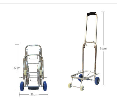 D44 Rugged Aluminium Luggage Trolley Hand Truck Folding Foldable Shopping Cart