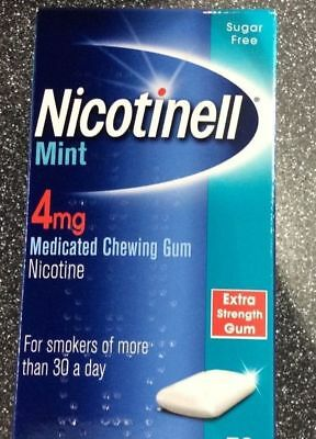 NICOTINELL CHEWING 4mg MINT GUM X 72 Pieces (Choose Strength / Flavour)