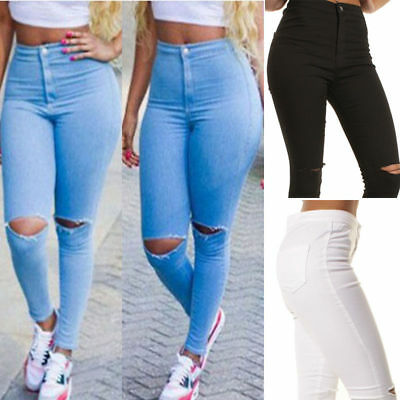 Women's Denim Skinny Ripped Pants Mid Waist Stretch Jeans Slim Pencil Trousers