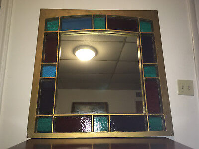 "ANTIQUE c1800's QUEEN ANNE STAINED GLASS & MIRROR & CLEAR GLASS ""ARCHED"" WINDOW"