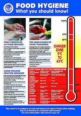 Health and Safety FOOD HYGIENE A4 210 x 297mm Self adhesive vinyl POSTER
