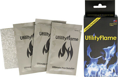 NIB UtilityFlame Fire Packets 37ml with Stove Knife UF125RBS Contains