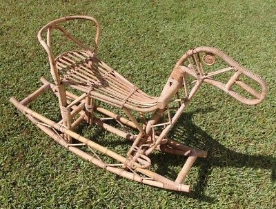 Scarce Vintage Bent Cane wicker bamboo rocking horse