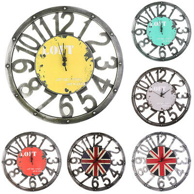 Vintage Rustic Wooden Wall Clock Antique Shabby Chic Home Kitchen Decor 16""