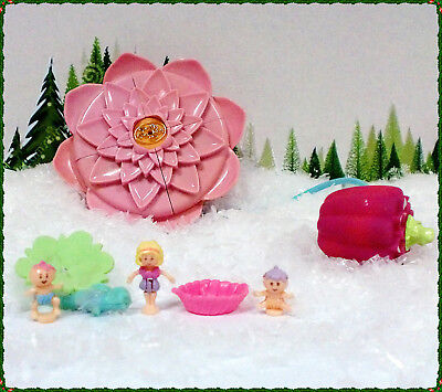 🌟💕POLLY POCKET Mini💕🌟 Fountain Fantasy Seerose Babys 100 % komplett