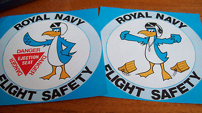 Two Large Old Royal Navy Flight Safety Stickers  - In Very  Good Condition