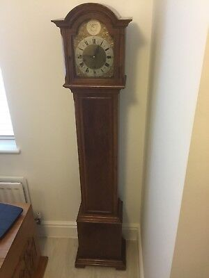 Grandmother clock, Enfield 1930s, Westminster chime oak case, fully working