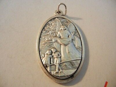"""Guardian Angel Large Oval 1 3/4"""" Medal    Made in Italy    FREE SHIPPING    New!"""