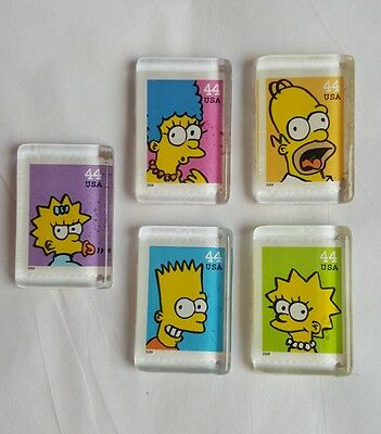 5 The Simpsons Magnets 2009 US Postage Stamp Magnet Marge Homer Bart Lisa Maggie