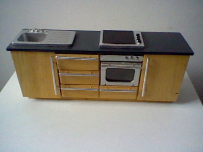 Dolls house kitchen unit - sink, hob, oven & cupboards/drawers - all in one