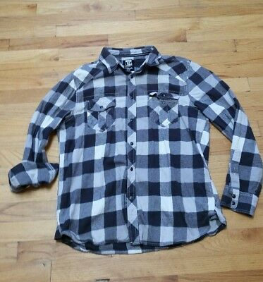 Vintage Flannel Route 66 Large Black White Gray Snap Front Flannel EUC