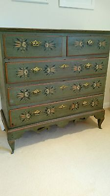 Rare original folk painted Norwegian / Scandinavian chest of drawers dated 1801