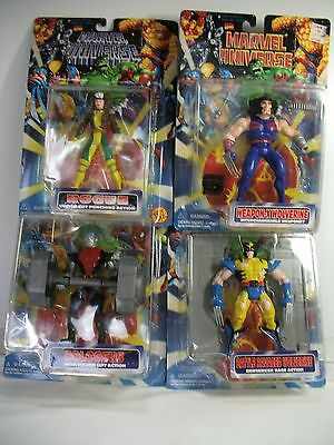 1996 MARVEL UNIVERSE Lot of 4 Figures~Rogue,Colossus,battle & weapon-x wolverine