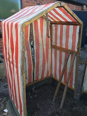 Bt Style Work Shelter, Old Style Wood Frame, 2 Halves One Striped And One Plain