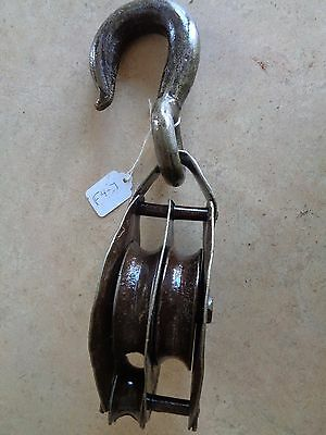 BLOCK AND TACKLE DOUBLE CAST IRON BARN PULLEY  f4-7