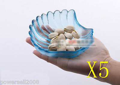 5X Special-Shaped Seashell Smooth Glass Plate Fruit Bowl Cake Plate Cold Dish NN