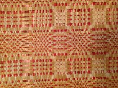 antique red white and yellow coverlet two panels 86x72